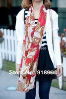 Scarves Animal Adult New fashion Women's Scarf Elegant Lady Chiffon Scarf Chain Carriage Wagon Pattern Air conditioner Shawl Beach Towel ATE