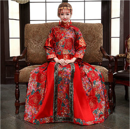 Wholesale 2014 Two pieces Chinese Cheongsam Red Wedding Dresses Long Sleeve Evening Dresses High Collar Elegant Red Long Cheongsam Flower Embroidery