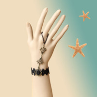 Slap & Snap Bracelets Women's Fashion Min Order $15(Can Mix Item)Goth Black Lace Bracelet Velvet Hand Harness Ring Gold Chain Stone Vintage