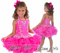 Wholesale Cupcake Dresses with high collar Halter Short Pageant dress Flower Beaded Organza toddler Party Dresses B212