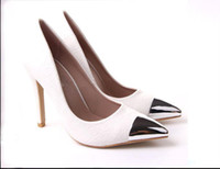 Women Pumps Spring and Fall Cheap Autumn white women's shoes Leather metal point Fine with sexy female single super high heels shoes