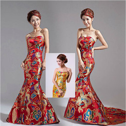 Wholesale 2015 Wedding Dresses Classical Red Gold Chinese Embroidery Cheongsam Dragon Sweetheart Long Train Backless Prom Dresses
