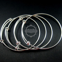 Wholesale 65mm diameter vintage brass silver plated simple wiring bracelet for beading