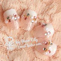 Full Natural Tips Square  Nail Tips Wholesale-MN-2014 new gentlewomen pearls drill french false nail Fake Nail Nail Tips,24 pcs with glue,Free Shipping