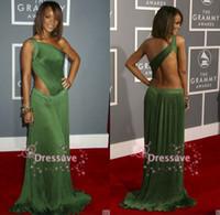 Wholesale 2014 Rihanna Green Evening Gowns One Shoulder Formal Celebrity Dresses Grammy Awards Red Carpet Backless Prom Dresses RH01