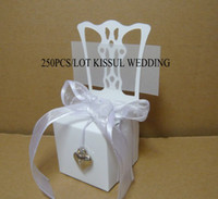 Favor Boxes White Paper Miniature white chair Wedding favor box with silver decorations(Pls see Real Product Photos) 250pcs lot For candy box and Cake boxes
