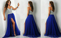 chiffon pageant gowns - 2014 Bling Bling Royal blue Chiffon Crystals Beaded Prom Pageant Evening Dresses Heavy Embellished Bodice Backless Sexy Thigh Slit Gowns New