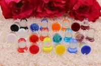 Wholesale hot sale Acqua Color Dot Pyrex Glass Single Flared Ear Gauge Plugs Piercing Jewelry