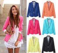 al por mayor capa de la chaqueta amarilla-El caramelo colorea 2016 juego de la chaqueta de las mujeres con un solo botón de famosos Negro menta rosada azul de las señoras del amarillo anaranjado de la chaqueta abrigos XS S M L XL 0731