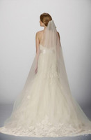 Wholesale Chapel Length yard Bridal Veils with Come with Comb Lace on Illusion Tulle Super Long Wedding Veil in Ivory