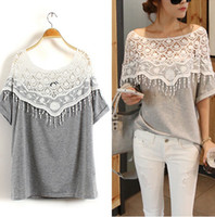 Wholesale 2014 New Fashion Women s Blouse Batwing Sleeve Loose Tops Handmade Crochet Cape Collar T Shirt Cotton Lace Medium Long T Shirt CW14230
