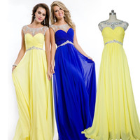 Real Photos sleeve photo - 2015 Cheap Prom Dress Real Photo Royal Blue Yellow Red Crystal Beads Long Chiffon Scoop Cap Sleeve Sexy Open Back Formal Evening Dress Gown