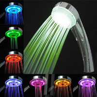 Wholesale 7 Color Changing Rainfall LED Shower Head Lighting Bathroom Shower Water Saving Bath Shower Bathroom Products Gift for Childrens