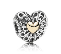 Wholesale 925 Sterling Silver amp k Real Gold Vintage Heart Charm Bead Fits European Pandora Jewelry Bracelets amp Necklaces