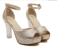 Women Pumps Spring and Fall New Shiny 2014 Sequins Beaded Wedding Dresses High heel Evening Party Dress Shoes Cheap In Stock