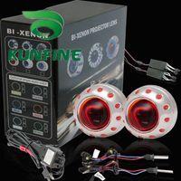 HID Conversion Kit 6000K All Car Whole Sale! G3 Bi-Xenon HID Projector Lens Kit ,Bi-Xenon HID +Projector Lens Kit +Double Angle Eyes and devil eyes+Bulbs