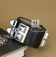 leather cuff bracelet - New Arrival Silver Tone Plated Metal Punk Black Leather Wristbands Bracelet Leather Cuff Bracelet For Women