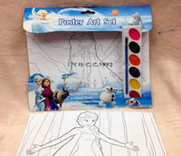 Wholesale Frozen Elsa Anna Olaf drawing poster set art supplies drawing paper paint oil brush school supplies