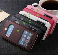 Wholesale retro vintage fashion s view window stand flip leather case cover pouch for iPhone inch flip case cover