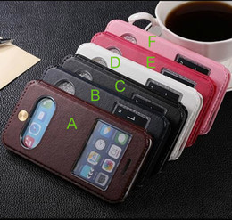 retro vintage fashion double window stand flip leather case cover pouch for iPhone 6 4.7 iPhone 6 Plus flip case cover