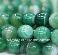 10mm raya verde ágata natural Onyx granos flojos de Gem 38 PC / porción de la manera granos de la joyería fabricación de joyas