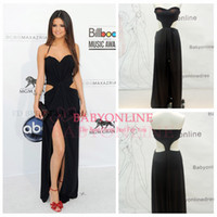 Wholesale 2015 Selena Gomez Fashion Black Celebrity Dresses Sexy Halter Backless Cutout Waist Chiffon High Front Split Glitz Red Carpet Gowns DK07001