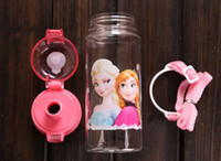 Plastic baby training cups - Children Cup Cartoon Frozen Elsa Anna PP Texture Suction Cup with drinking straw water bottle Cartoon Frozen Baby training cup Travel mugs