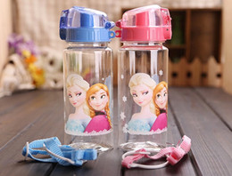 Wholesale Lovely Children Cup Cartoon Frozen Elsa Anna PP Texture Suction Cup with drinking straw water bottle ML ML