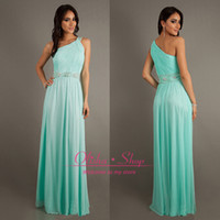Wholesale 2014 Summer Custom Made Bridesmaid Dresses with One Shoulder Backless Beaded Floor Length Chiffon Formal Evening Gowns vestidos de fiesta