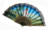 lace hand fan - Lace Fans Religious Church Fans Spanish Hand Fans Party Accessories Handmade inches Black Color Plastic Handle with Lace Folding Fans
