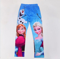Wholesale Frozen Children s Leggings Girl Fall Cartoon Leggings Elsa Anna Olfa Kids Leg Pants Child Trouses GX851