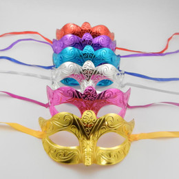 Wholesale Costume Dance Kids Christmas - Gold Plating Party Masks Cute Kid Mask Venetian Masquerade Eye Mask Carnival Dance Costume Cosplay Mardi Gras mask mix color