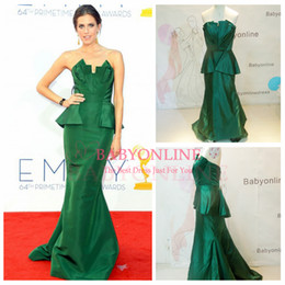 Wholesale New Fashion Allison Williams Elastic Satin Mermaid Celebrity Dresses Sexy Strapless Zipper Back Peplum Glitz Red Carpet Party Gowns DK07002