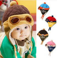 aviator coffee - Baby Kids New Earmuffs Pilot Cap Hot Warm Toddler Children Aviator Earflap Hat for Winter Red Blue Pink Coffee Color CW0201