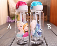 plastic bottle water bottle - Retail FROZEN plastic water bottle kids cartoon drinking straw water bottle children straw cups cute cup tea kettle Gift Volume ML ML