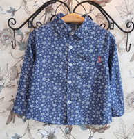 Wholesale New Items Stars Pattern Long Sleeve Collar Cotton Boys Shirt Children s Blouse For Big Boy Kids Childs Outwear Boy s Casual Clothing J1035