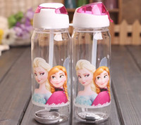 Plastic big bottle water - Children Cup Frozen Water Bottle Big Volume ML ML Frozen Drink Bottle Princess Elsa amp Anna Cartoon Frozen Bottles Straw Type