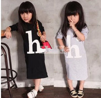 Wholesale Autumn Girl Clothing Long Dress Korean quot H quot Letter Fashion Children Beach Dresses Cotton Kids Homewear Sleep Dress GX852