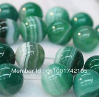 Envío gratis! Comercio al por mayor de 6mm raya verde ágata natural Onyx gema granos flojos redondos 60 PC / porción granos de la manera la fabricación de joyas