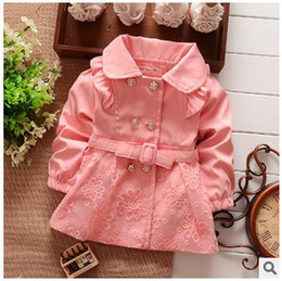 Wholesale New Fashion Style Double Breasted Girls Korean Style Cotton Trench Coat Spring Childrens Fashion Coats Girls Lace Coats Baby Jackets