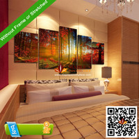 Digital printing jk-pc491-2--unframed canvas 5 Panel Forest Painting Canvas Wall Art Picture Home Decoration Living Room Canvas Print Modern Painting--Large Canvas Art Cheap