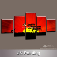 Cheap Digital printing 5 piece canvas art Best Abstract Animal large canvas paintings