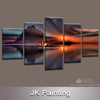 Digital printing Landscape Unframed Canvas Painting 5 Piece Canvas Art Landscape Painting for Living Room Canvas Prints Artwork Wall Decor-Modern Decorative Picture
