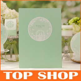 Wholesale Chic Green Guest Book Pages Wedding Ceremony Attendance Book Signature Sign in Book HQ1044