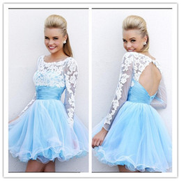 Wholesale 2015 New Beautiful Party Prom Gowns A Line Scoop Backless Long Sleeve Appliques Tiers Organza Homecoming Dresses Cocktail Dresses