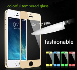 Wholesale Cell Phone Screen Protector mm Colorful Tempered Glass Film Silk screen Straight Flange F B For Iphone S One Clear Film As Gift