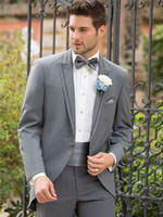 Men Pant Suit V-Neck Custom Made Design 2014 Fashion Light Grey Groom Tuxedos Jacket and Trousers Two Buttons Jacket Notch Lapel Men's Clothing Man Business Suit