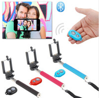 Wholesale quality selfie handheld bluetooth shutter camera remote control monopod phone clip holder Set for iphone android samrt phones
