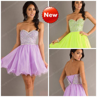 Cheap Bling Short Lilac Homecoming Dresses Shin Beaded Sequins Crystals Ball Gowns Chiffon Tulle Corset Prom Cocktail Hot Green Cheap Custom Made