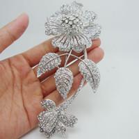 Fashion beautiful bridesmaid jewelry - quot Luxury Bride Leaf Flower Bouquet Clear Rhinestone Crystal Brooch Pin Beautiful Bridesmaid Jewelry